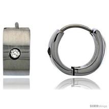 Stainless Steel Huggie Earrings w/ Cubic Zirconia Stone 1/2 in  - $11.75