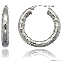 Surgical Steel 1 1/4 in Hoop Earrings Bamboo Embossed Pattern 5 mm Fat t... - $16.51