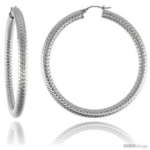 Surgical Steel Tube Hoop Earrings 2 3/8 in Round 5 mm Thick Tight Zigzag  - $22.01