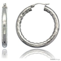 Surgical Steel 1 1/2 in Hoop Earrings Bamboo Embossed Pattern 5 mm Fat t... - $16.51
