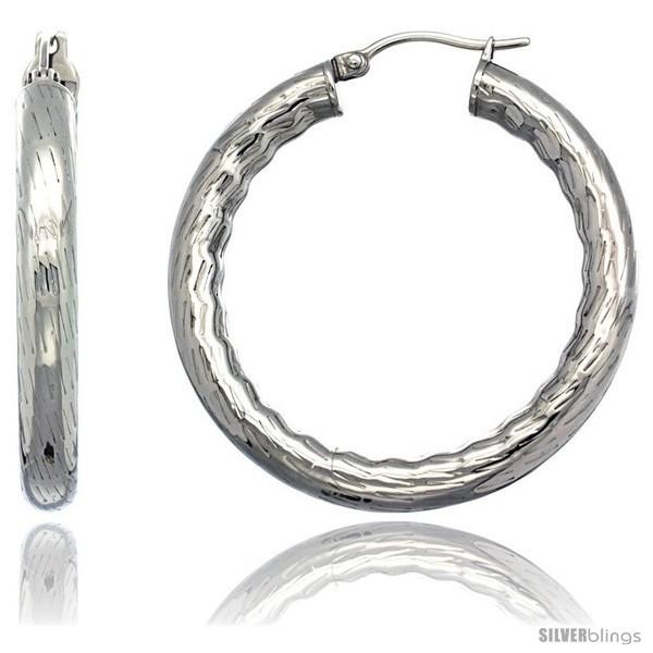 2 5 Mm Earrings: Surgical Steel 1 1/2 In Hoop Earrings Bamboo Embossed