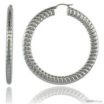 Surgical Steel 2 1/2 in Hoop Earrings Spiral Embossed Pattern 7 mm Fat Flat  - $23.68