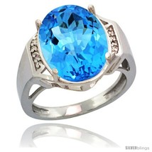 Size 5 - Sterling Silver Diamond Natural Swiss Blue Topaz Ring 9.7 ct La... - $329.79