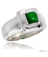 Sterling silver 75 carat size princess cut emerald colored cz solitaire ring thumbtall