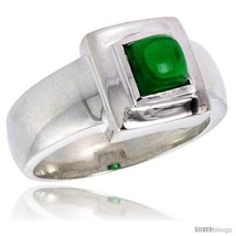 Size 7 - Sterling Silver .75 Carat Size Princess Cut Emerald Colored CZ  - $33.49
