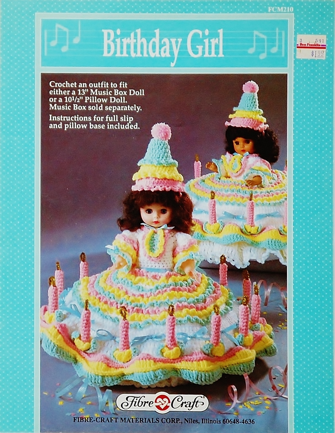Fibre Craft Birthday Girl Crochet Pattern Leaflet FCM 210