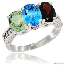 Size 8 - 14K White Gold Natural Green Amethyst, Swiss Blue Topaz & Garne... - €633,58 EUR