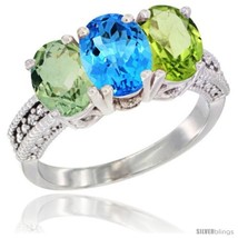 Size 8.5 - 14K White Gold Natural Green Amethyst, Swiss Blue Topaz & Per... - €633,58 EUR