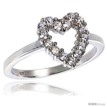 Ity sterling silver 1 2 in 11 mm wide ladies heart cut out ring brilliant cut cz stones thumb200