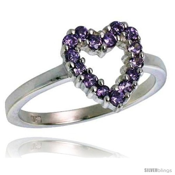 Ling silver 1 2 in 11 mm wide ladies heart cut out ring brilliant cut amethyst colored cz stones