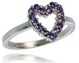 2 in 11 mm wide ladies heart cut out ring brilliant cut amethyst colored cz stones thumb155 crop