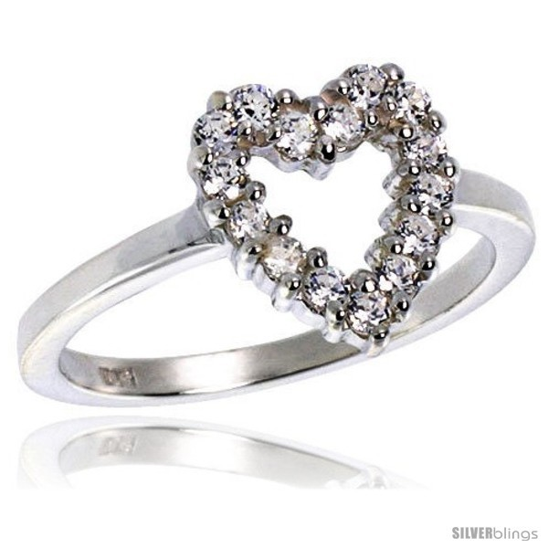 Hest quality sterling silver 1 2 in 11 mm wide ladies heart cut out ring brilliant cut cz stones