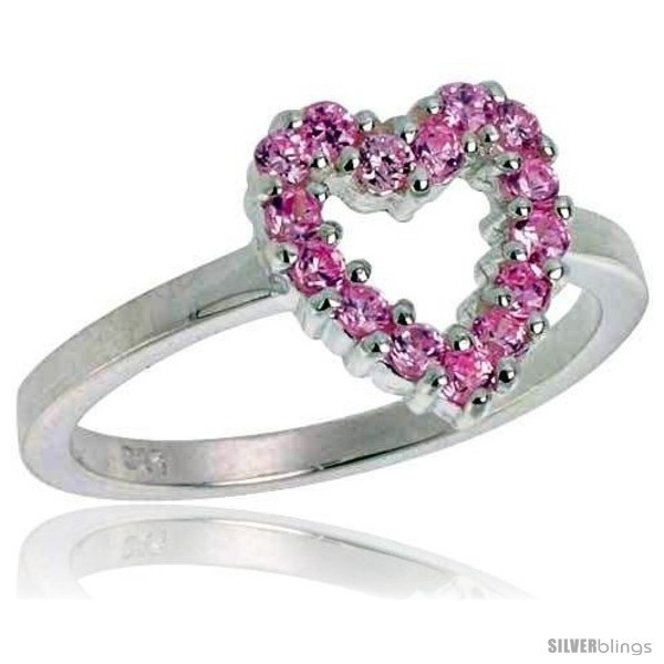 Lver 1 2 in 11 mm wide ladies heart cut out ring brilliant cut pink tourmaline colored cz stones