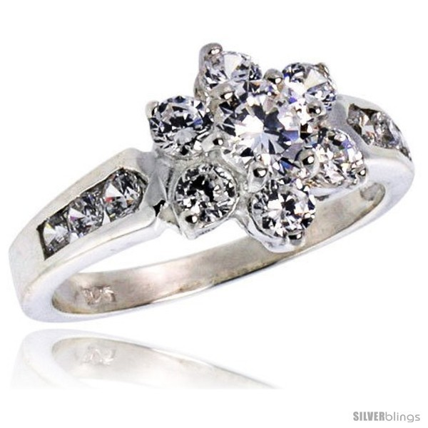 Ghest quality sterling silver 1 2 in 11 mm wide ladies flower stone ring brilliant cut cz stones