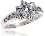 Sterling silver 1 2 in 11 mm wide ladies flower stone ring brilliant cut cz stones thumb155 crop