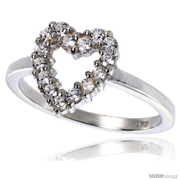 Size 7 - Highest Quality Sterling Silver 1/2 in (11 mm) wide Ladies' Heart