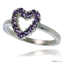 Size 6 - Highest Quality Sterling Silver 1/2 in (11 mm) wide Ladies' Heart  image 2