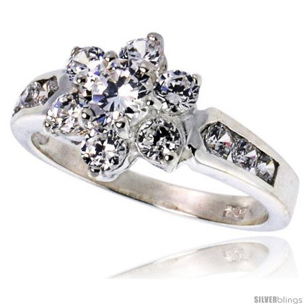 Size 8 - Highest Quality Sterling Silver 1/2 in (11 mm) wide Ladies' Flower