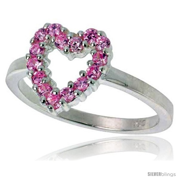 Size 7 - Highest Quality Sterling Silver 1/2 in (11 mm) wide Ladies' Heart  image 2