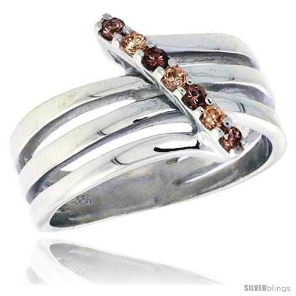 Ing silver 1 2 in 13 mm wide right hand ring brilliant cut citrine smoky topaz colored cz stones