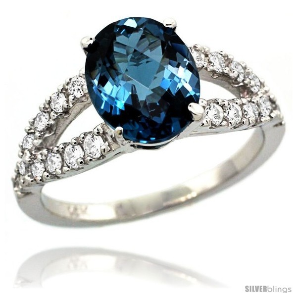 Primary image for Size 5 - 14k White Gold Natural London Blue Topaz Ring 10x8 mm Oval Shape