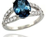 Gold natural london blue topaz ring 10x8 mm oval shape diamond accent 3 8inch wide thumb155 crop