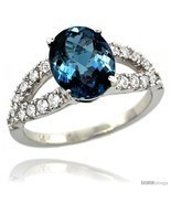 Size 5 - 14k White Gold Natural London Blue Topaz Ring 10x8 mm Oval Shape  - £693.55 GBP