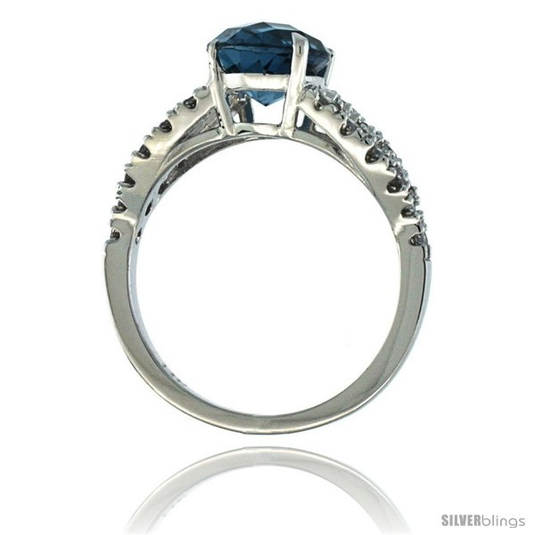 Size 5 - 14k White Gold Natural London Blue Topaz Ring 10x8 mm Oval Shape