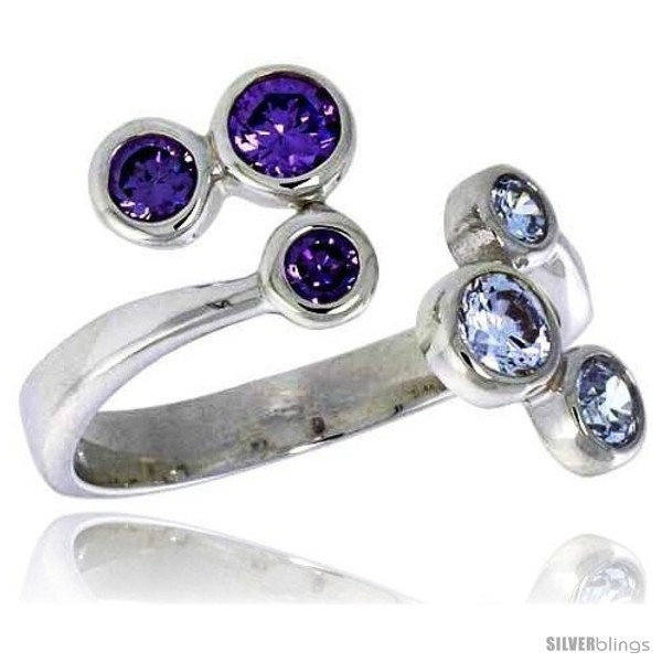 Silver 5 8 in 16 mm wide right hand ring bezel set brilliant cut alexandrite amethyst colored cz