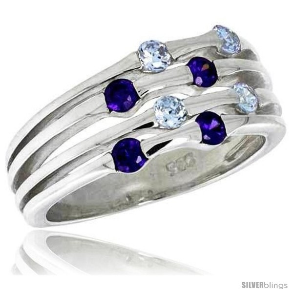 Ng silver 3 8 in 10 mm wide right hand ring brilliant cut alexandrite amethyst colored cz stones
