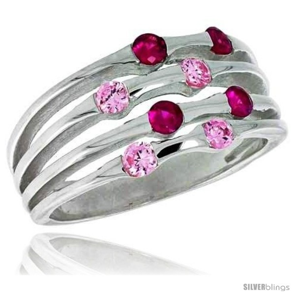 Ng silver 3 8 in 10 mm wide right hand ring brilliant cut ruby pink tourmaline colored cz stones