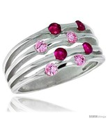 3 8 in 10 mm wide right hand ring brilliant cut ruby pink tourmaline colored cz stones thumbtall