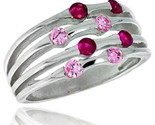 In 10 mm wide right hand ring brilliant cut ruby pink tourmaline colored cz stones thumb155 crop