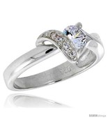 Quality sterling silver 5 16 in 8 mm wide right hand knot ring brilliant cut cz stones thumbtall