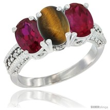 Size 10 - 10K White Gold Natural Tiger Eye & Ruby Ring 3-Stone Oval 7x5 mm  - $549.71