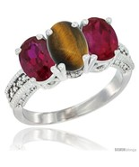 Size 10 - 10K White Gold Natural Tiger Eye & Ruby Ring 3-Stone Oval 7x5 mm  - £417.90 GBP
