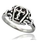 Size 12 - Surgical Steel Biker Coffin Ring w/ Cross 1 in  - $31.38