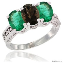 Size 5 - 10K White Gold Natural Smoky Topaz & Emerald Ring 3-Stone Oval ... - $635.54