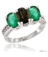 Size 5 - 10K White Gold Natural Smoky Topaz & Emerald Ring 3-Stone Oval ... - £483.15 GBP