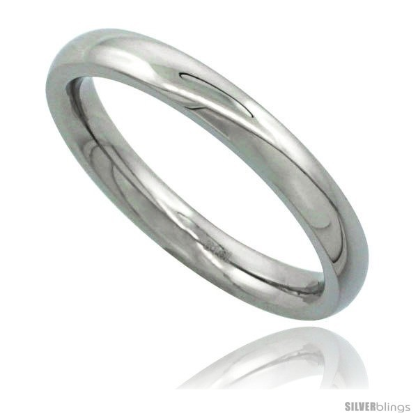 Surgical steel 3mm domed wedding band thumb toe ring comfort fit high polish