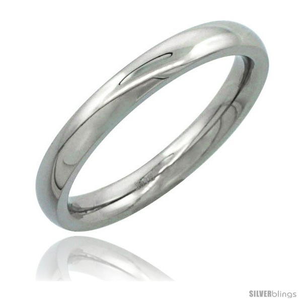 Size 8 - Surgical Steel 3mm Domed Wedding Band Thumb / Toe Ring Comfort-Fit