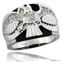 Size 13 - Sterling Silver Men's Black Onyx American Eagle Ring CZ Stones &  - $79.18