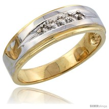 Size 9 - 14k Gold Men's Diamond Band w/ Rhodium Accent, w/ 0.08 Carat Brilliant  - $741.69