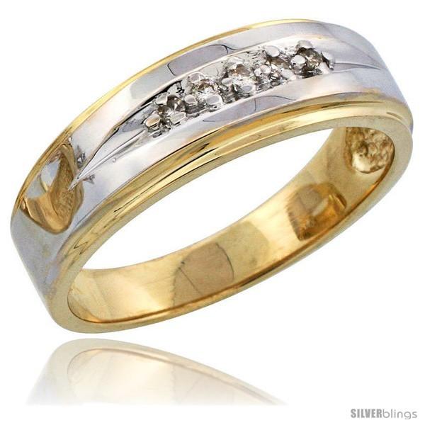 Diamond band w rhodium accent w 0 08 carat brilliant cut diamonds 1 4 in 7mm wide style 14y113mb