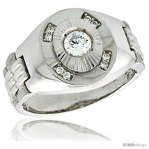 Size 12 - Sterling Silver Men's Style Ring CZ Stones, 1/2 in (15 mm)  - $50.18