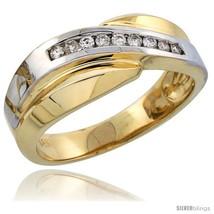 Size 9 - 14k Gold Men's Diamond Band w/ Rhodium Accent, w/ 0.16 Carat Brilliant  - $1,042.24
