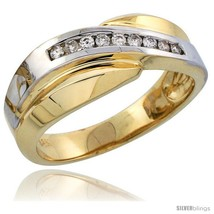 Size 12 - 14k Gold Men's Diamond Band w/ Rhodium Accent, w/ 0.16 Carat  - $1,042.24