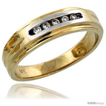Size 8 - 14k Gold Men's Diamond Band w/ Rhodium Accent, w/ 0.10 Carat Brilliant  - $909.32
