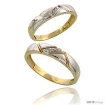 Size 5.5 - 10k Yellow Gold Diamond Wedding Rings 2-Piece set for him 4.5... - $441.80
