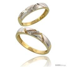 Size 10 - 10k Yellow Gold Diamond Wedding Rings 2-Piece set for him 4.5 ... - $441.80
